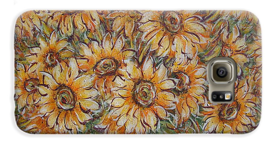 Flowers Galaxy S6 Case featuring the painting Sunlight Bouquet. by Natalie Holland