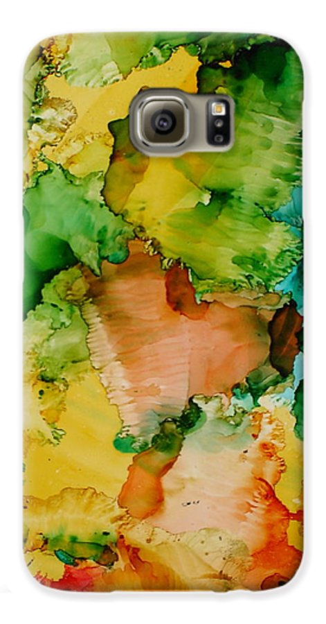 Abstract Galaxy S6 Case featuring the painting Sunlit Reef by Susan Kubes