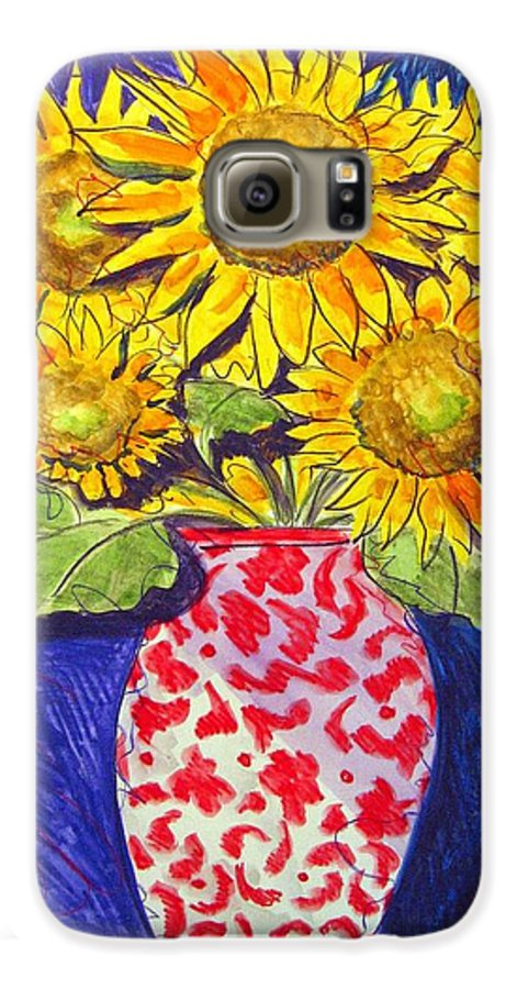 Sunflower Galaxy S6 Case featuring the painting Sunny Disposition by Jean Blackmer