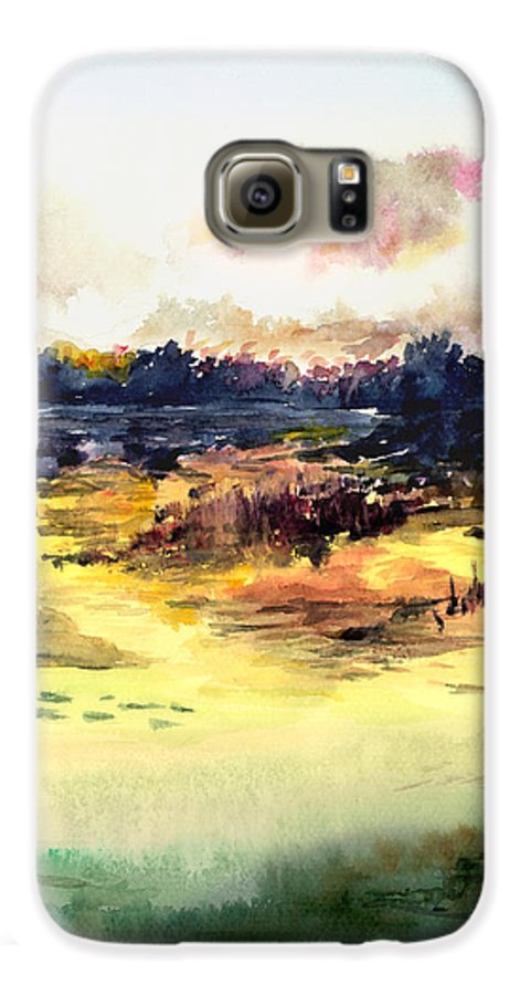 Landscape Water Color Sky Sunrise Water Watercolor Digital Mixed Media Galaxy S6 Case featuring the painting Sunrise by Anil Nene