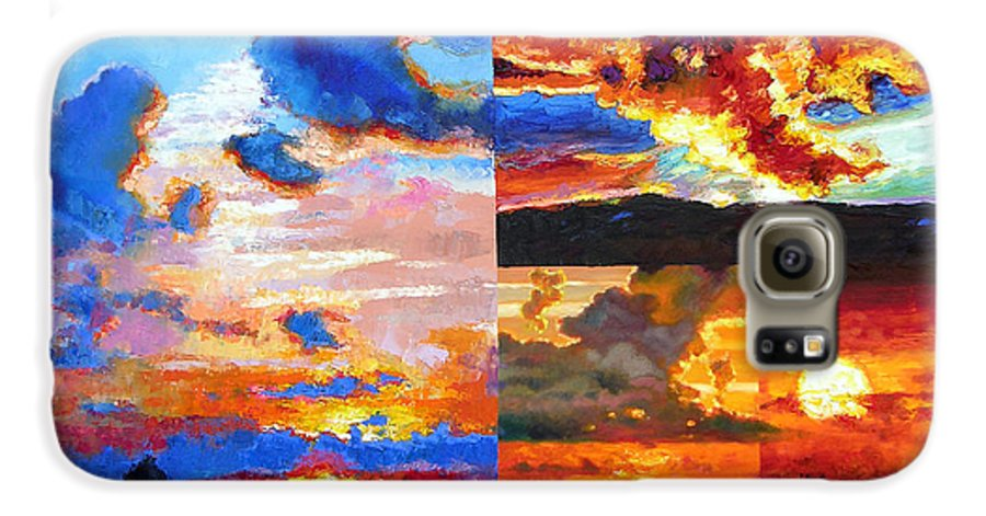 Sunrise Galaxy S6 Case featuring the painting Sunrise Sunset Sunrise by John Lautermilch