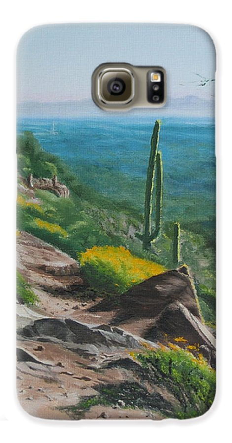 Landscape Galaxy S6 Case featuring the painting Sunrise Trail by Lea Novak