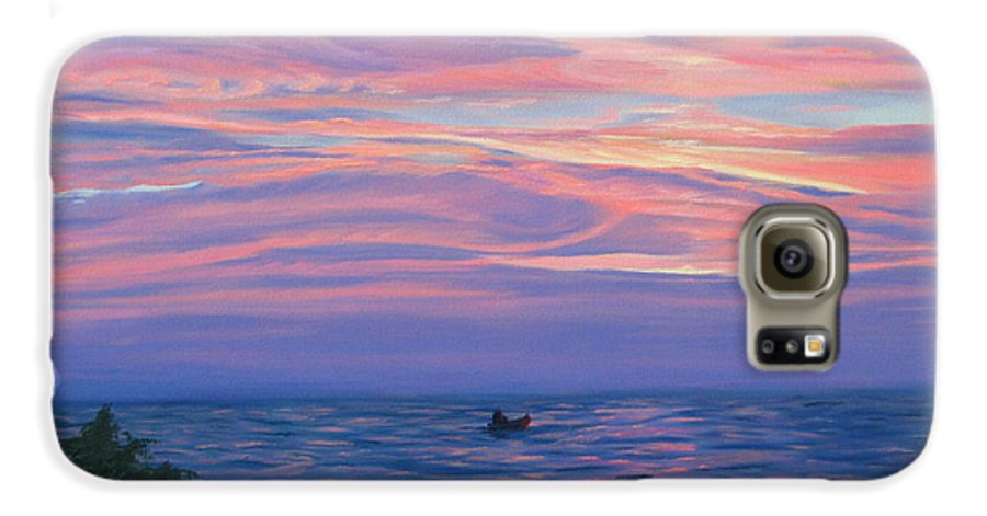 Seascape Galaxy S6 Case featuring the painting Sunset Bay by Lea Novak