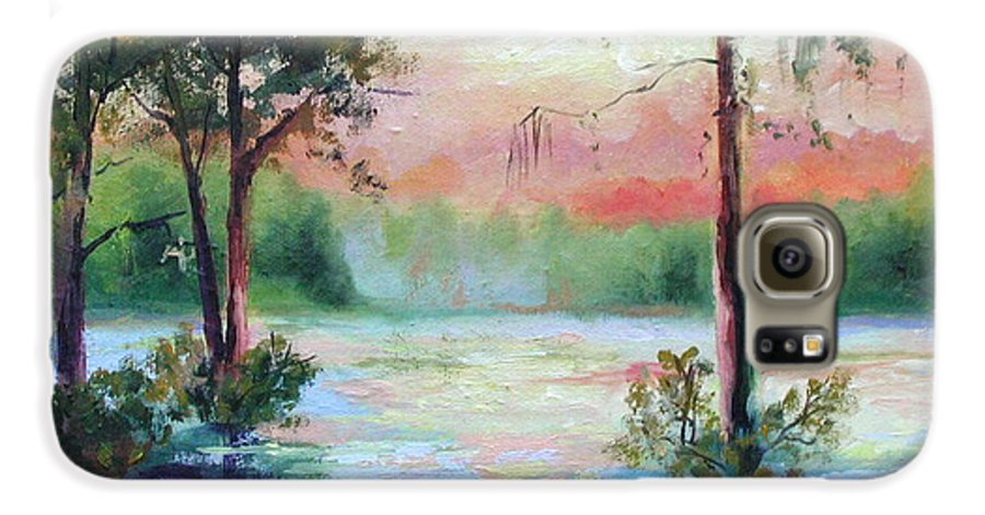 Sunset Galaxy S6 Case featuring the painting Sunset Bayou by Ginger Concepcion