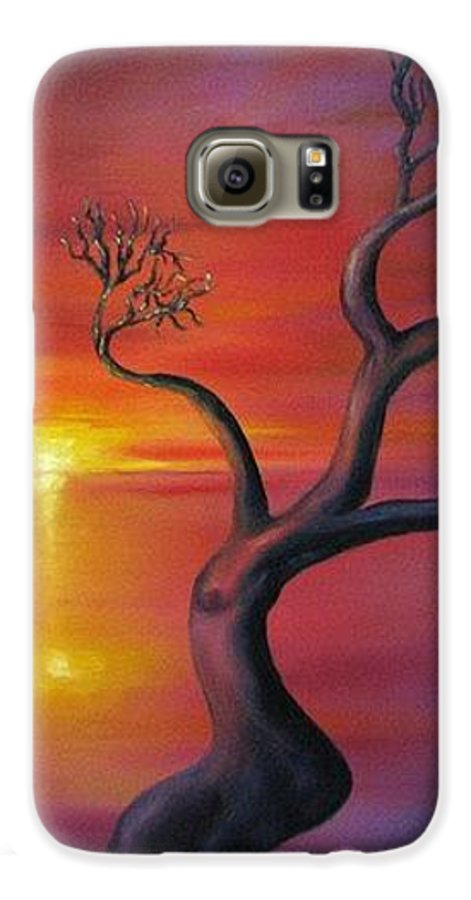Landscape Galaxy S6 Case featuring the painting Sunset Dance Fantasy Oil Painting by Natalja Picugina