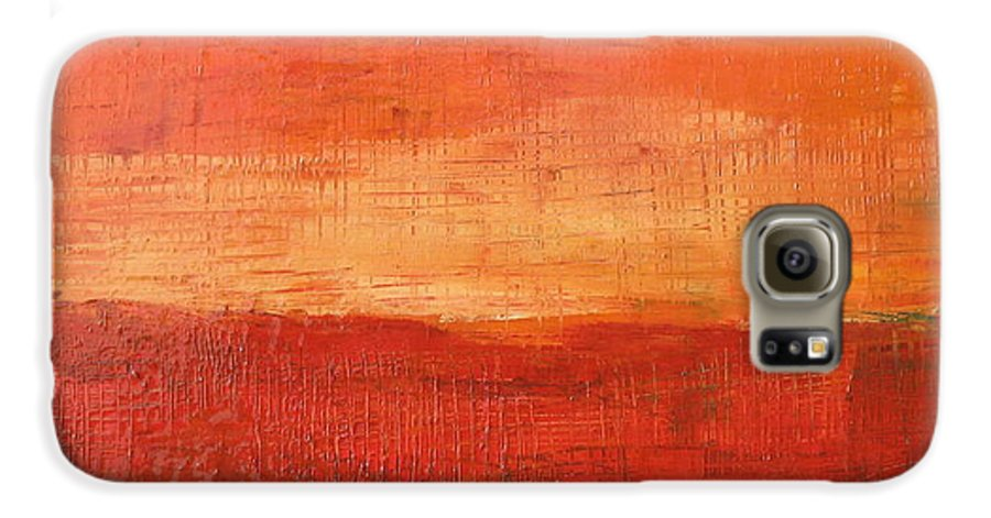 Abstract Galaxy S6 Case featuring the painting Sunset by Habib Ayat