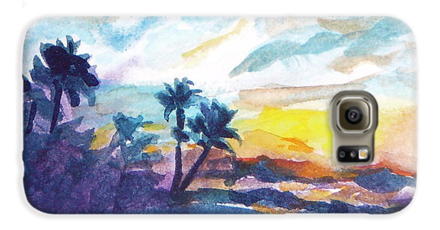 Landscape Galaxy S6 Case featuring the painting Sunset In Hawaii by Jan Bennicoff