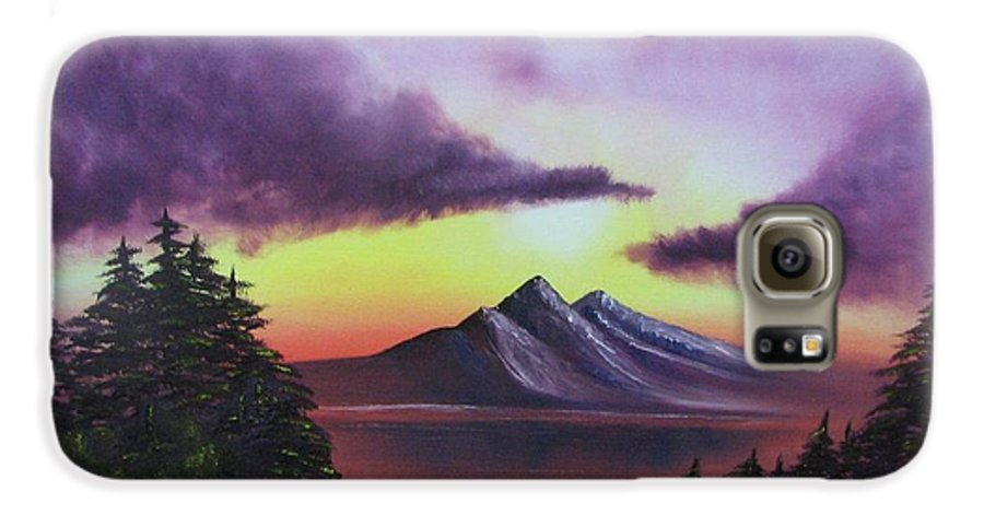 Sunset Galaxy S6 Case featuring the painting Sunset In Mountains Original Oil Painting by Natalja Picugina