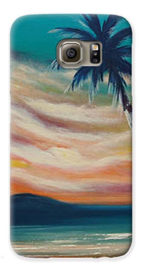 Sunset Galaxy S6 Case featuring the painting Sunset In Paradise by Gina De Gorna