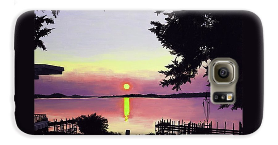 Sunset On Lake Galaxy S6 Case featuring the painting Sunset On Lake Dora by Judy Swerlick