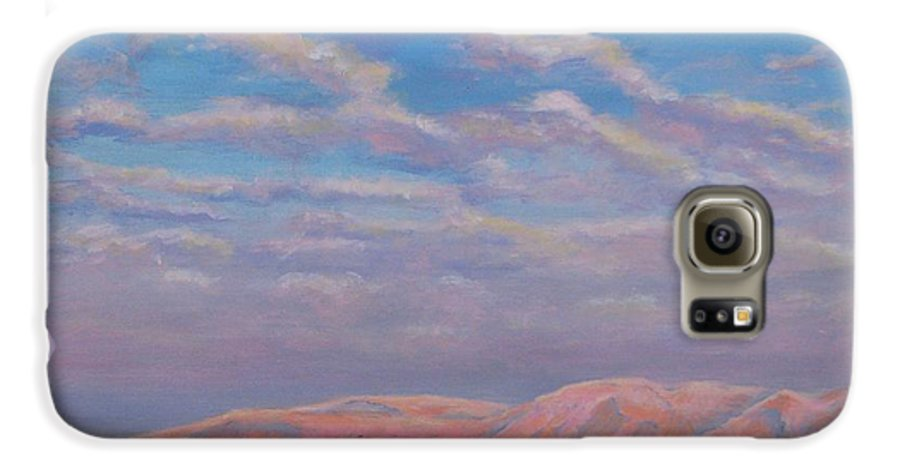 Sunset Galaxy S6 Case featuring the painting Sunset On The Dead Sea In Israel by Art Nomad Sandra Hansen