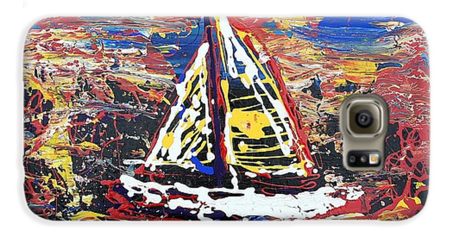 Sailboat Galaxy S6 Case featuring the painting Sunset On The Lake by J R Seymour