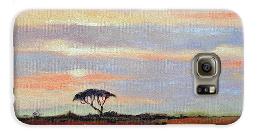 Landscape Galaxy S6 Case featuring the painting Sunset On The Serengheti by Ginger Concepcion