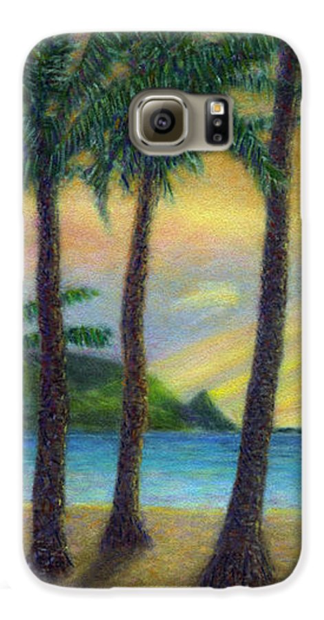 Rainbow Colors Pastel Galaxy S6 Case featuring the painting Sunset Palms by Kenneth Grzesik