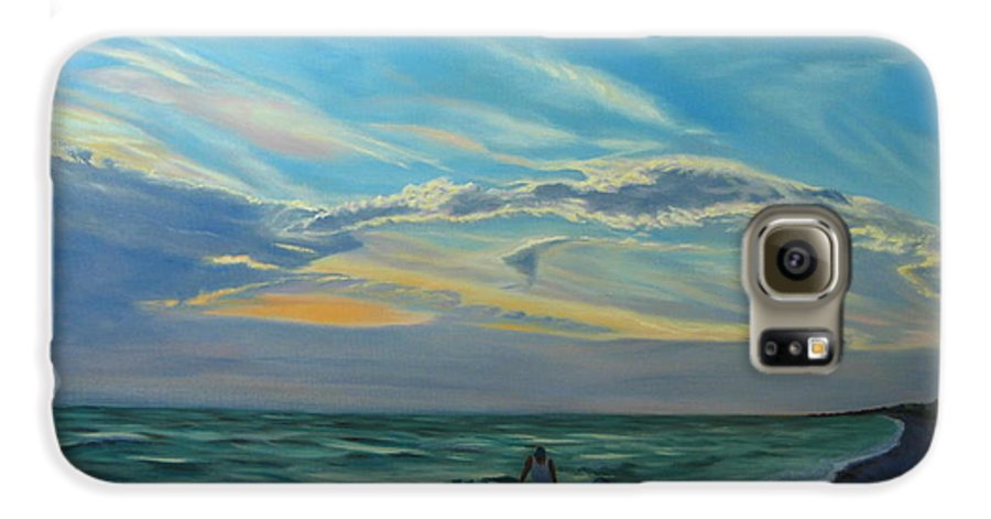 Seascape Galaxy S6 Case featuring the painting Sunset Treasure Hunt by Lea Novak