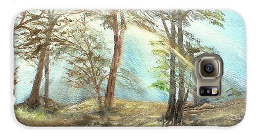 Landscape River Trees Sunshine Reflections Galaxy S6 Case featuring the painting Sunshine by Kenneth LePoidevin