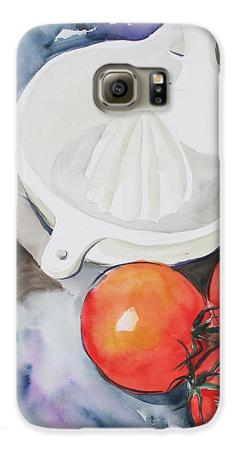 Tomatoes Galaxy S6 Case featuring the painting Sunshine On The Vine by Jean Blackmer