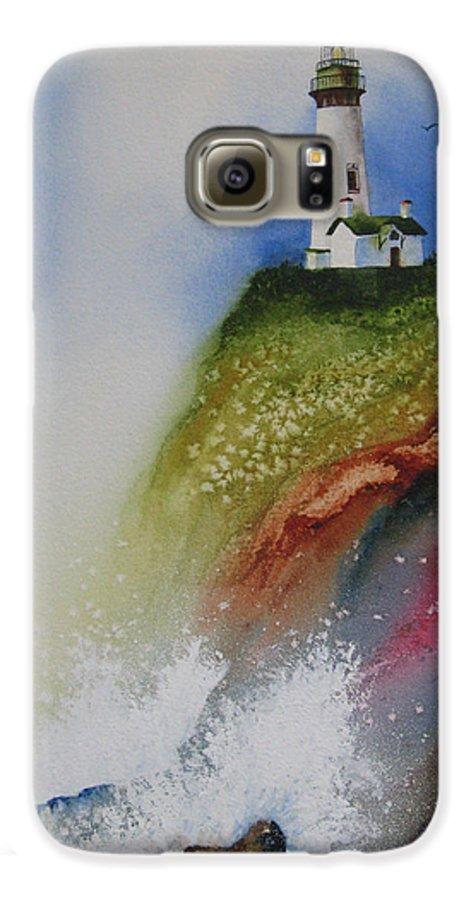 Lighthouse Galaxy S6 Case featuring the painting Surfside by Karen Stark