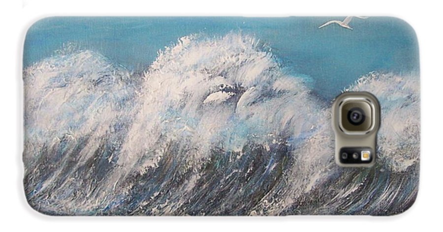 Surreal Tsunami Galaxy S6 Case featuring the painting Surreal Tsunami by Tony Rodriguez