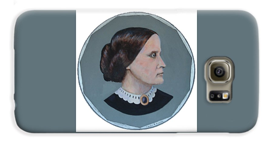 Susan B. Anthony Galaxy S6 Case featuring the painting Susan B Anthony Coin by Art Nomad Sandra Hansen