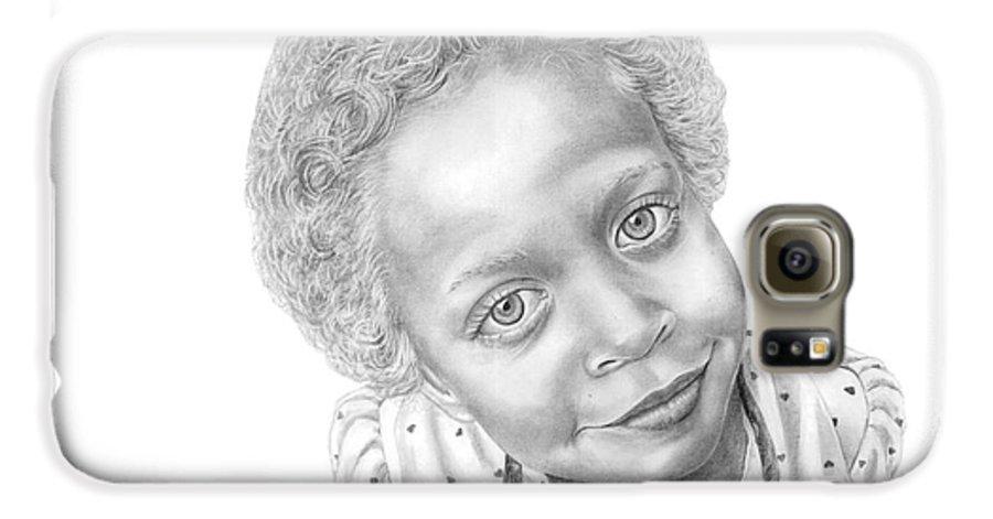 Portrait Galaxy S6 Case featuring the drawing Sweet Eyes by Murphy Elliott