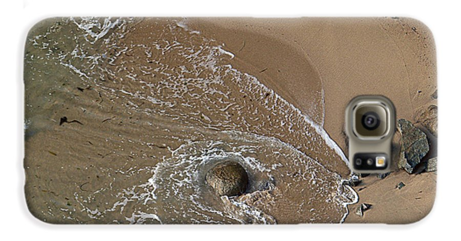 Big Sur Galaxy S6 Case featuring the photograph Swirling Surf And Rocks by Charlene Mitchell