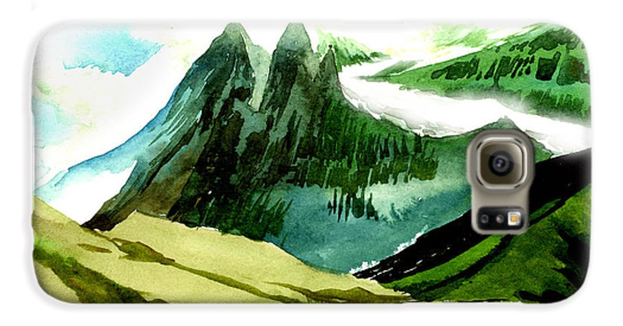 Landscape Galaxy S6 Case featuring the painting Switzerland by Anil Nene