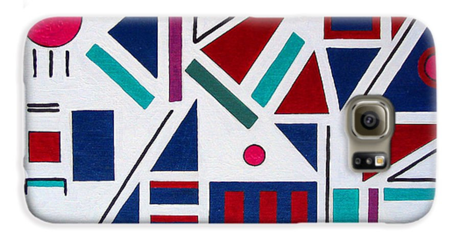 Abstract Galaxy S6 Case featuring the painting Symmetry In Blue Or Red by Marco Morales