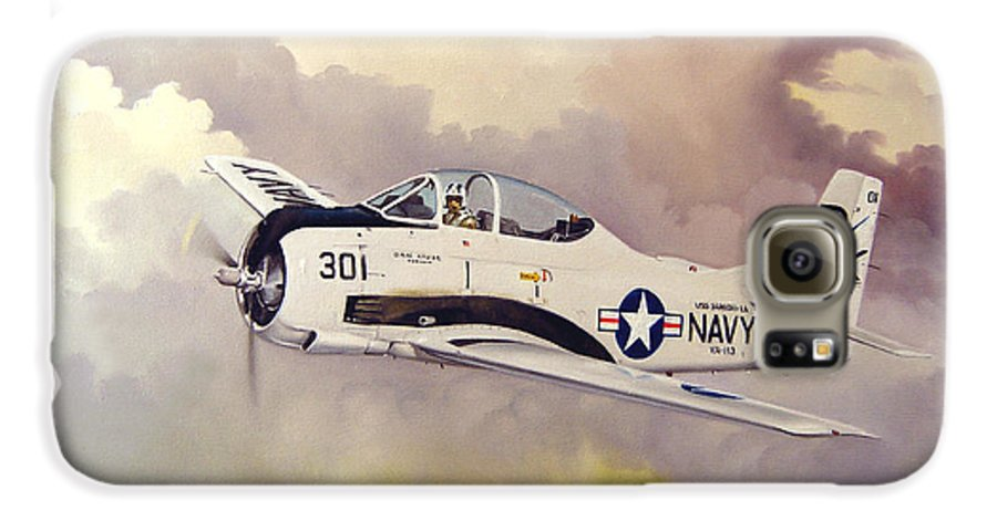 Military Galaxy S6 Case featuring the painting T-28 Over Iowa by Marc Stewart