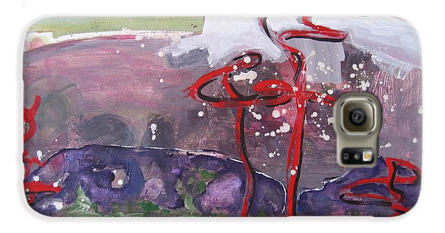 Abstract Paintings Galaxy S6 Case featuring the painting Table Land3 by Seon-Jeong Kim
