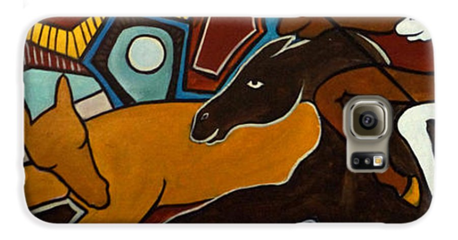 Horse Abstract Galaxy S6 Case featuring the painting Taffy Horses by Valerie Vescovi