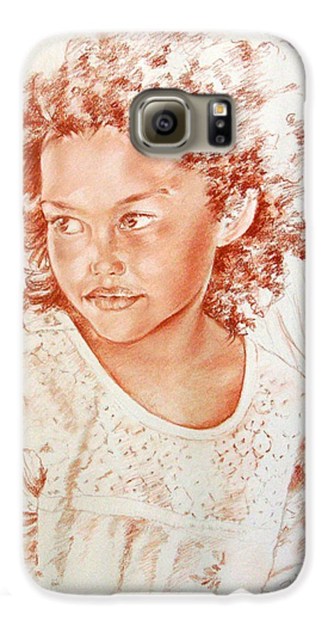 Drawing Persons Galaxy S6 Case featuring the painting Tahitian Girl by Miki De Goodaboom