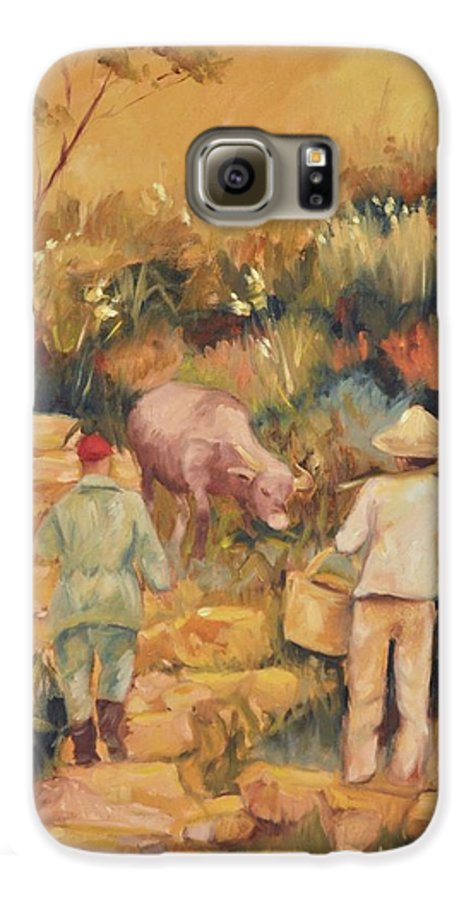 Water Buffalo Galaxy S6 Case featuring the painting Taipei Buffalo Herder by Ginger Concepcion