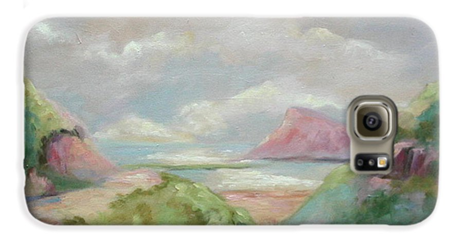 Seascape Galaxy S6 Case featuring the painting Taiwan Inlet by Ginger Concepcion
