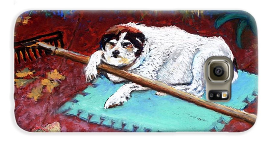 Dog Galaxy S6 Case featuring the painting Take A Break by Minaz Jantz