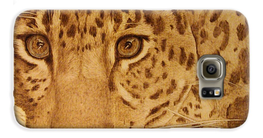 Jaguar; Sepia; Wild Life; Africa; Eyes; Zoo; Cat; Galaxy S6 Case featuring the pyrography Take One Step Closer by Jo Schwartz