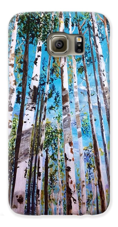 Birch Trees Galaxy S6 Case featuring the painting Tall Whites by Patti Ferron
