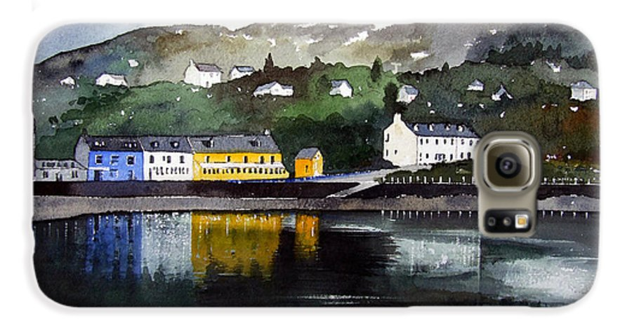 Scottish Fishing Harbour Galaxy S6 Case featuring the painting Tarbert Reflections by Paul Dene Marlor
