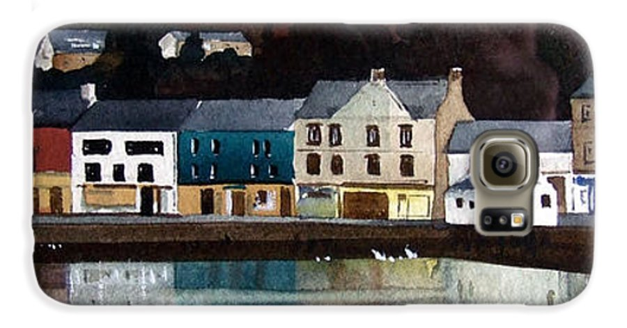 Landscape Galaxy S6 Case featuring the painting Tarbert Reflections by Paul Dene Marlor