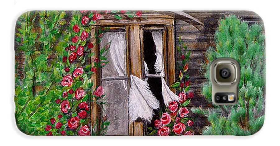 Curtains Galaxy S6 Case featuring the painting Tattered Curtains by Quwatha Valentine