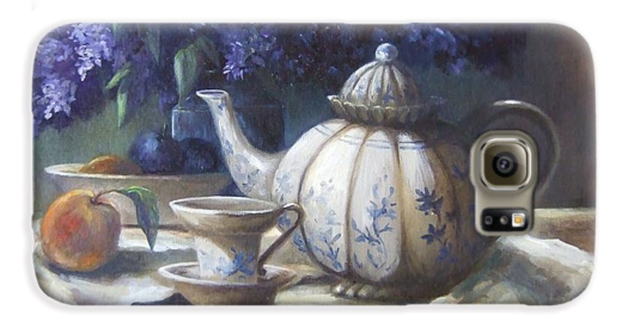 Teapot Galaxy S6 Case featuring the painting Tea And Lilacs by Ruth Stromswold