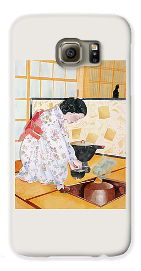 Japanese Woman Performing Tea Ceremony Galaxy S6 Case featuring the painting Tea Ceremony by Judy Swerlick