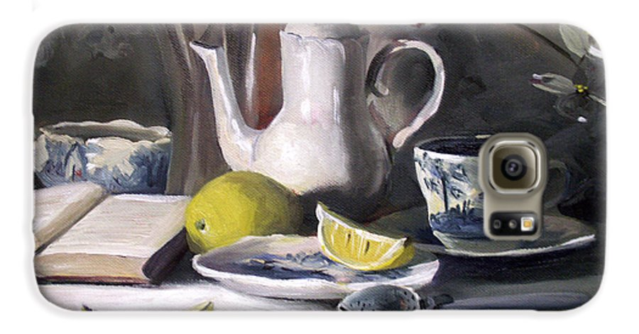 Lemon Galaxy S6 Case featuring the painting Tea With Lemon by Nancy Griswold