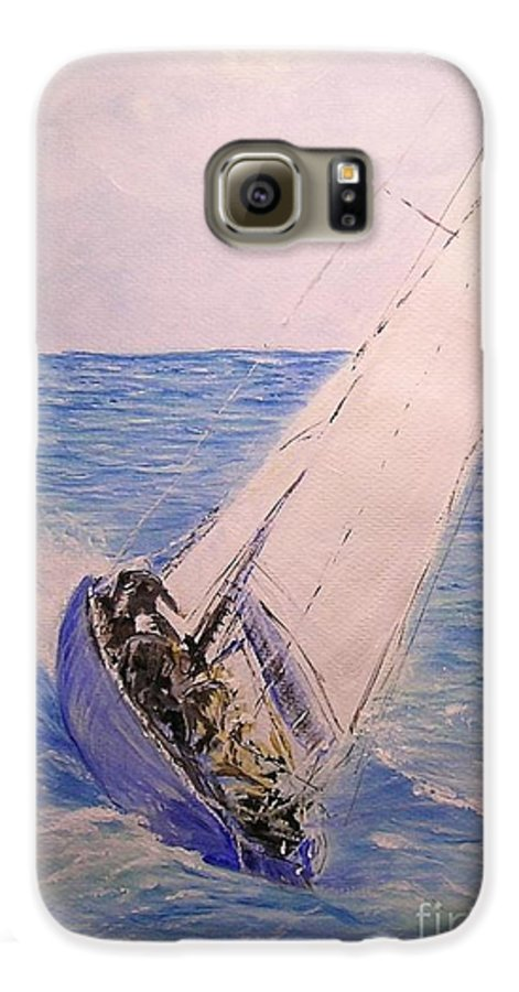 Seascape Galaxy S6 Case featuring the painting Tell Tails In The Wind by Lizzy Forrester