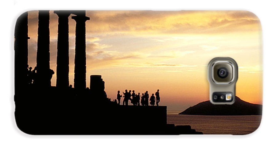 Tourists Galaxy S6 Case featuring the photograph Temple Of Poseiden In Greece by Carl Purcell