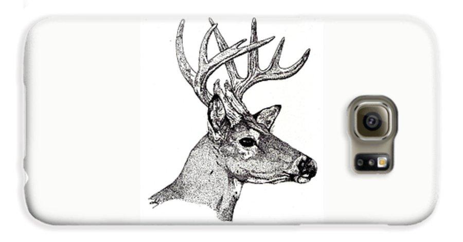 Deer Galaxy S6 Case featuring the drawing Ten Point Buck by Debra Sandstrom