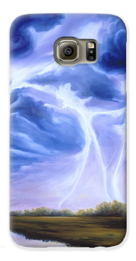 Marsh Galaxy S6 Case featuring the painting Tesla by James Christopher Hill