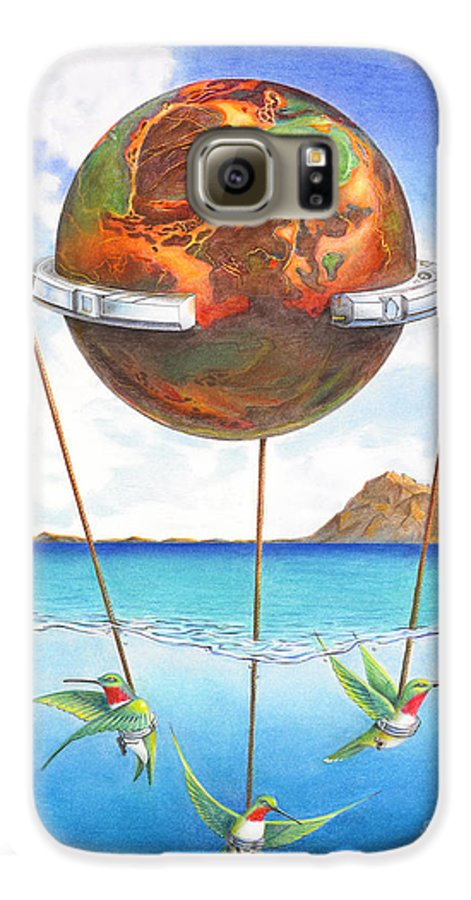 Surreal Galaxy S6 Case featuring the painting Tethered Sphere by Melissa A Benson