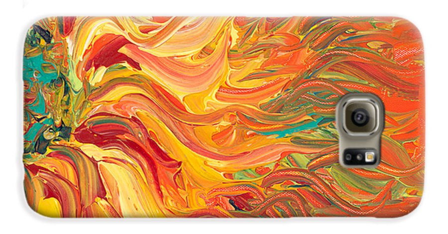 Sunjflower Galaxy S6 Case featuring the painting Textured Fire Sunflower by Nadine Rippelmeyer