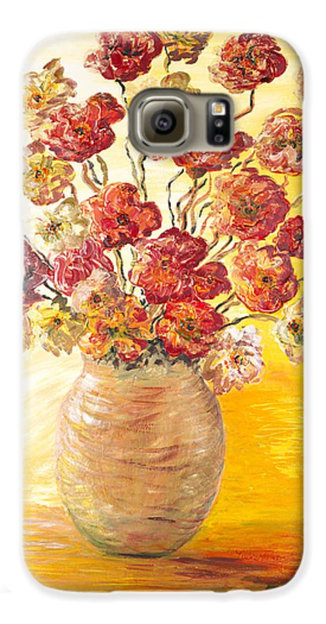 Flowers Galaxy S6 Case featuring the painting Textured Flowers In A Vase by Nadine Rippelmeyer